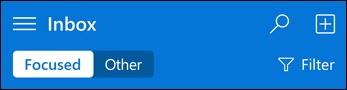 Mini Outlook Web Appi ülemine navigeerimisriba