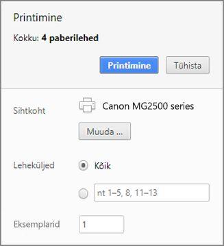 Chrome'i printimispaneeli suvandid
