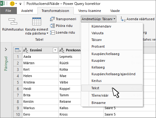 Power Query aken, kus on valitud tekst