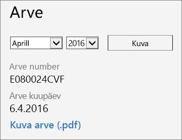 Office 365 halduskeskuse arve üksikasjade lehe jaotise Arve kuvatõmmis