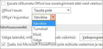 PowerPoint 2016 Office'i kujunduse suvandite pilt