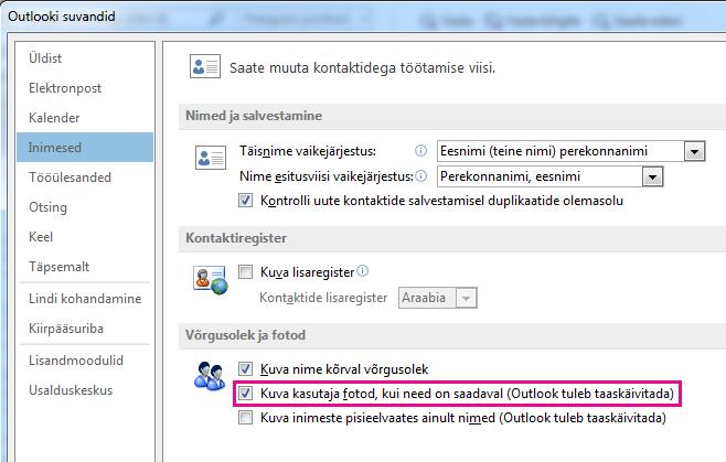 Kuvatõmmis – Outlooki suvandite aken, kus piltide lubamise märkeruut on esile tõstetud