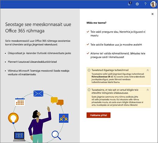 Sellel pildil on kuvatud uue Office 365 loomine viisardi esimesel ekraanil.