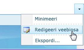Käsu Redigeeri veebiosa klõpsamine