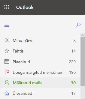 Pilt Outlooki veebirakenduse vasakpoolsest versioonist, mis on määratud mulle kohe pärast lipuga märgitud meilisõnumite kuvamist