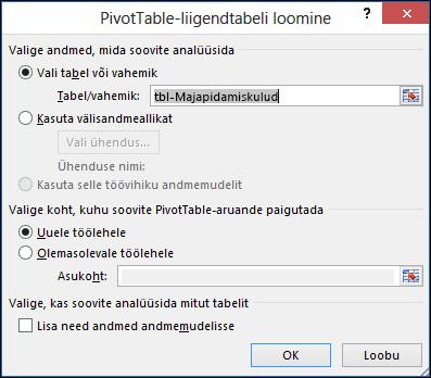 Exceli dialoog PivotTable-liigendtabeli loomine