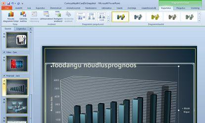 Diagrammil klõpsates kuvatakse menüü Diagrammiriistad.