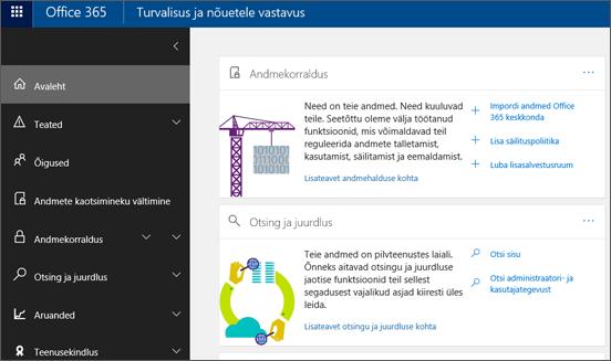 Office 365 turbe- ja vastavuskeskuse avaleht