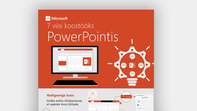 Teabegraafika, mis näitab seitset moodust, kuidas PowerPointis koostööd teha