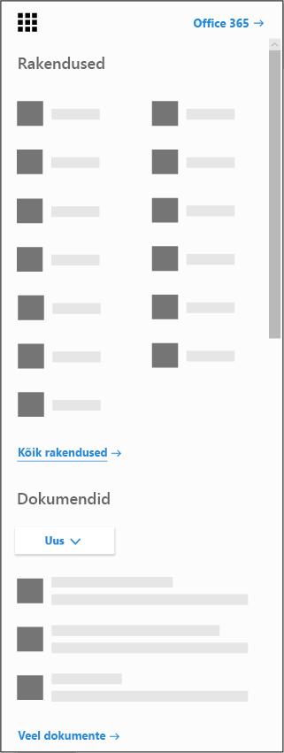 Office 365 rakenduse käivitaja