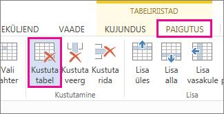Pilt menüü Linditööriistad alammenüü Paigutus nupust Kustuta.