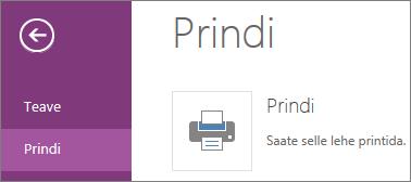 OneNote Online'i printimiskäsk