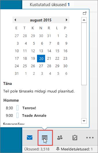 Kalendri pisieelvaade, kus on kuvatud kalendriikoon