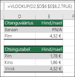 Näide sellest, kuidas funktsiooni VLOOKUP kasutamine argumendi range_lookup väärtusega TRUE võib põhjustada vigaseid tulemeid.