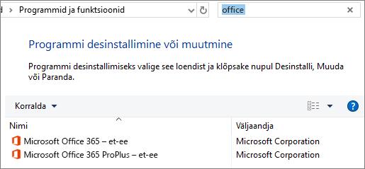 Kuvab juhtpaneelis kahte installitud Office'i koopiat