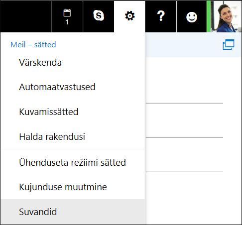 Outlooki veebirakenduse sätete suvandid