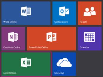 Klõpsake paani Excel Online veebisaidil Office.com