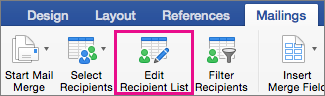 Klõpsake adressaatide loendi redigeerimiseks