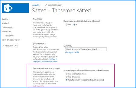 SharePointi dokumenditeegi lehe Täpsemad sätted kuvatõmmis