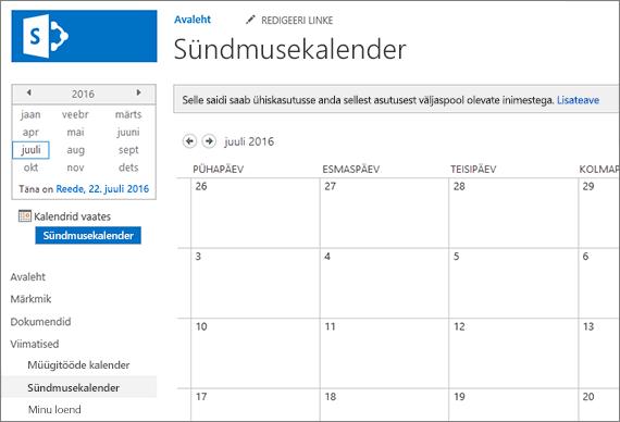 Kalendri loendirakenduse näide