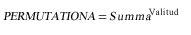 Funktsiooni PERMUTATIONA võrrand