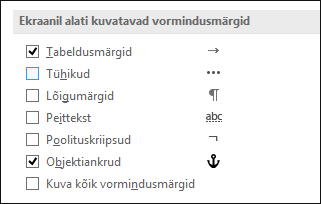 Always show or hide formatting symbols