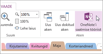 Kiirmärkmete haldamine OneNote'i saatmise tööriista abil