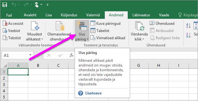 Uus päring rakenduses Excel 2016