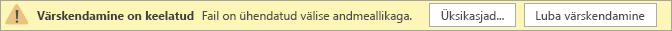 """Visio Online'i avaliku eelvaate hoiatusteade """"Värskendamine on keelatud""""."""