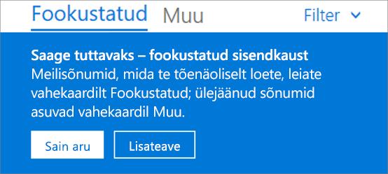 Fookustatud sisendkausta pilt, mis avaneb kasutajale Outlooki veebirakenduse esmakordsel avamisel.