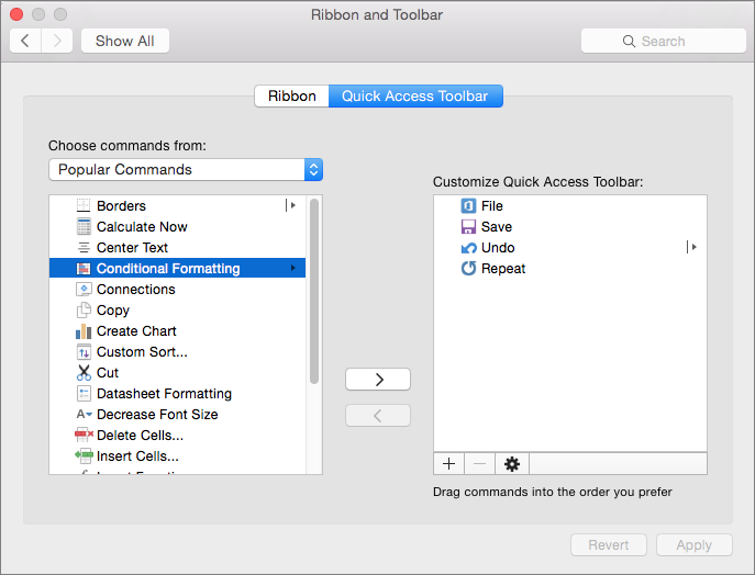Office2016 Mac-arvuti kohandamiseks QAT