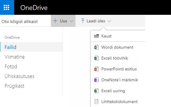 Kuvatõmmis dokumendi loomisest OneDrive.com-i kaudu
