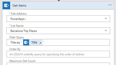 Tippige Get üksuste samm väljal Filter päringu pealkiri