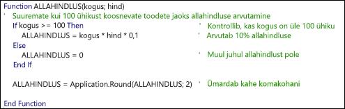 Kommentaaridega VBA-funktsiooni näide