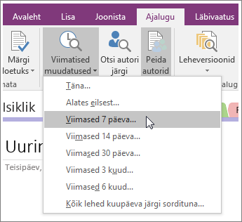 """Kuvatõmmis rakenduse OneNote 2016 nupust """"Viimatised muudatused""""."""