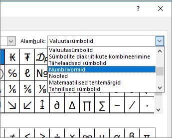 """Murdude ja muude matemaatiliste sümbolite kuvamiseks valige dialoogiboksis """"Alamhulk"""" valik """"Numbrivormid"""""""