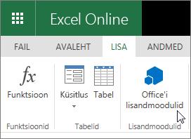 """Lähivõte, kus kursor osutab """"Office'i lisandmoodulite"""" lindi menüüs Lisa lisandmoodulid rühma kuvatõmmis."""