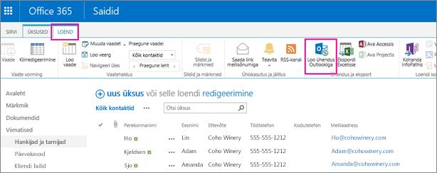 Kontaktiloendi sünkroonimiseks Outlookiga valige käsk Loo ühendus Outlookiga