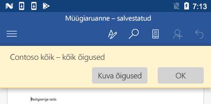Office for Androidis IRM-kaitsega faili avamisel saate vaadata teile määratud õigusi.