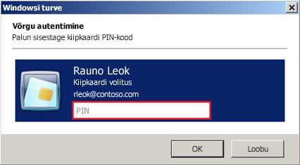 Kiipkaardi PIN-koodi sisestamise dialoog