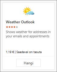 Kuvatõmmis tasuta prooviversioonina või tasulise versioonina saadaolevast Outlooki ilmateate lisandmoodulist.