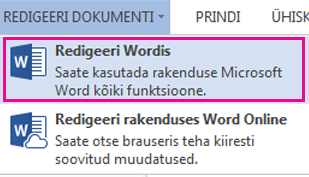 Screenshot of Word Web App with the Edit Document tab selected.