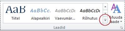 Word 2010 nupp Rohkem laade