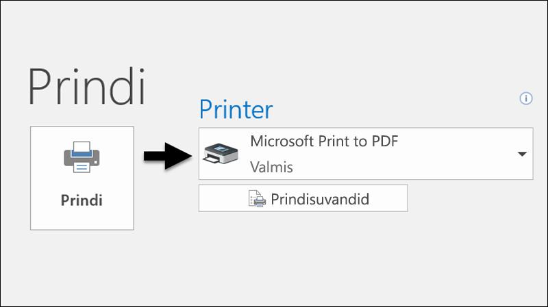 """Käsu """"Prindi"""" abil saate meilisõnumi printida PDF-failina."""