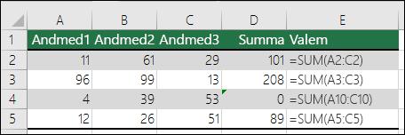 Excel kuvab veaväärtuse, kui valem ei vasta sellega külgnevate valemite mustrile