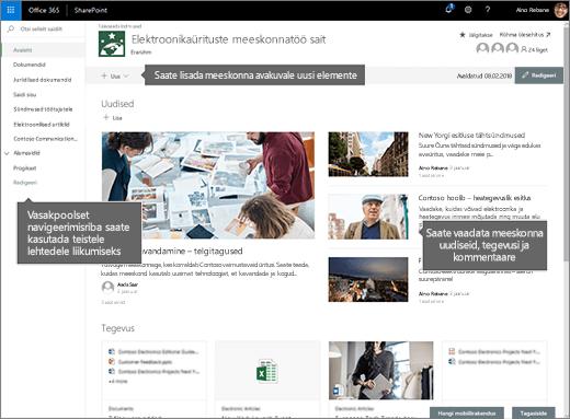 SharePoint Online'i meeskonnatöö saidi avalehel