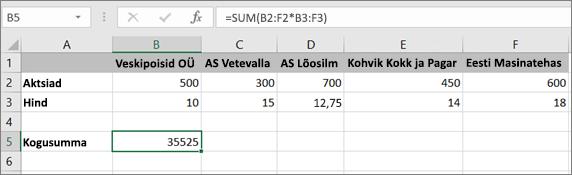 Ühe tulemi arvutamine Massiivivalemi näide