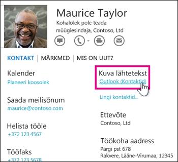 Outlooki kontaktikaardilink Kuva allikas