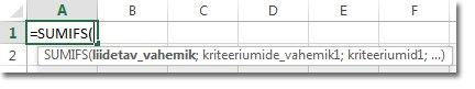 Valemi automaatteksti kasutamine funktsiooni SUMIFS sisestamiseks
