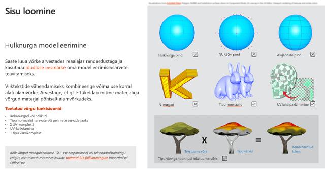 3D-sisu juhiste jaotise sisu loomise pilt